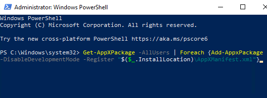 The Get-AppXPackage command in Windows PowerShell