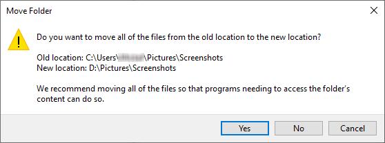 The Move Folder window in Windows 10