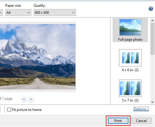The print button in Print Pictures window in Windows 10