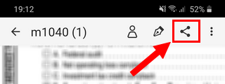The share button in the Adobe Fill & Sign app