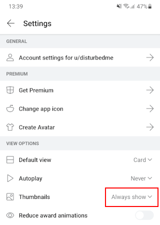 Thumbnails setting in the Reddit app on Android