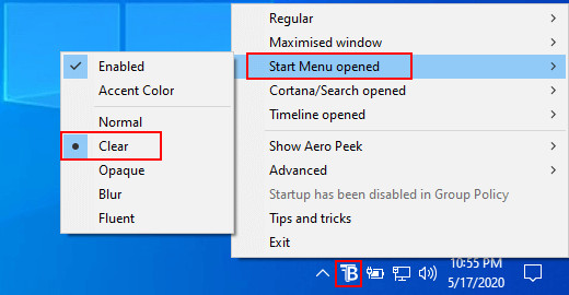 TranslucentTB make taskbar stay transparent when opening the start menu