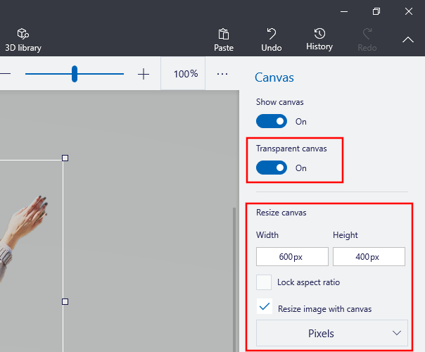 Transparent canvas and resize canvas option in Paint 3D