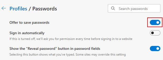 Turn off save password pop-ups in Microsoft Edge
