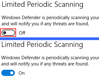 turn on windows defender limited periodic scanning in windows 10
