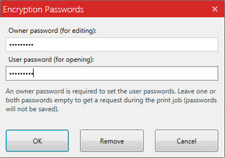 type a passwords for pdf file in pdf creator