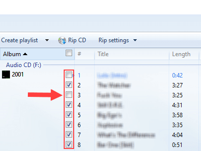 Uncheck songs in Windows Media Player