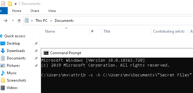 Unhide files and folders in Windows 10 using CMD