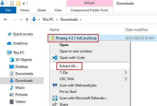Unzip FFmpeg ZIP file in Windows 10