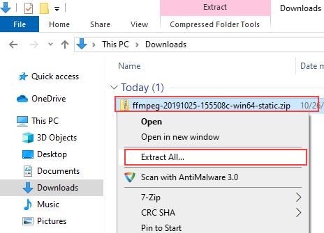 Unzip FFmpeg zip file in Windows