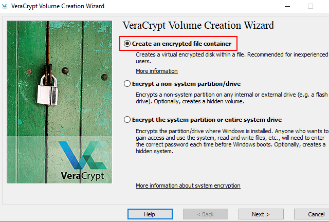 VeraCrypt Create an encrypted file container option