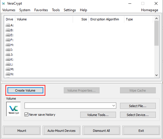VeraCrypt Create Volume button