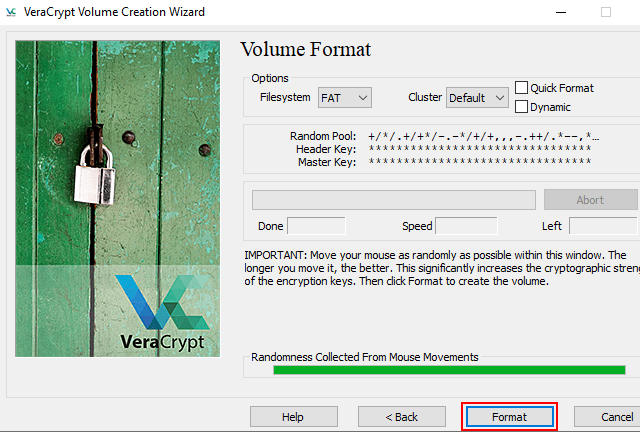 VeraCrypt format button