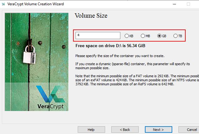 VeraCrypt volume size