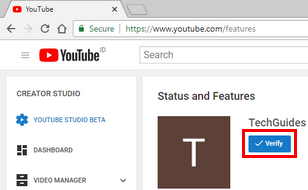 Verify a YouTube account button