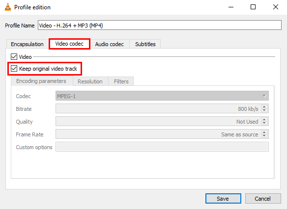 Video codec settings in VLC media player