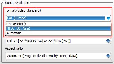 Video standard setting in ConvertXtoDVD