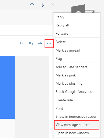 View email header on Outlook.com
