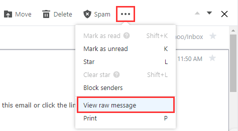 View email header on Yahoo