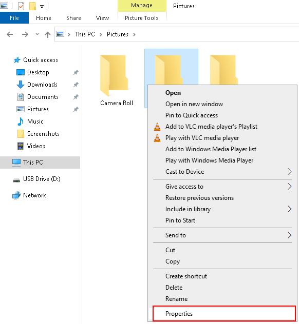 View folder properties in Windows 10
