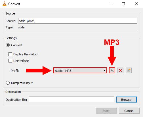 VLC convert settings