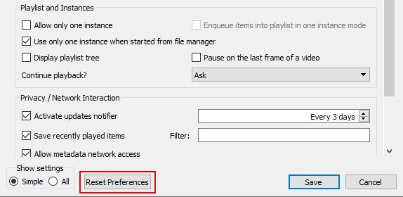 VLC reset preferences