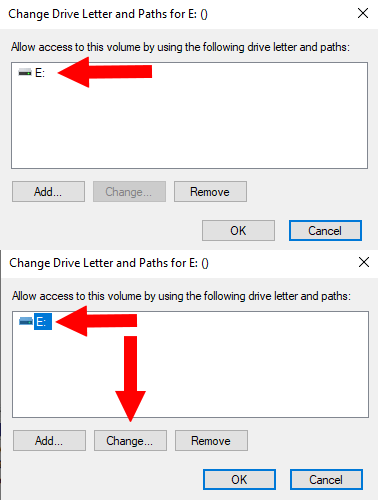 What to do when the Change drive letter button is not working