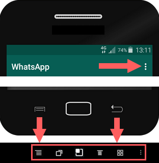 whatsapp menu buttons on android