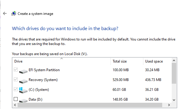 Which drives do you want to include in the backup?