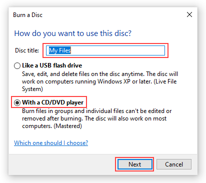 Windows 10 Burn a Disc window