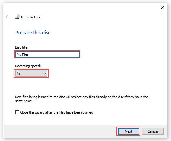 Windows 10 Burn to Disc window
