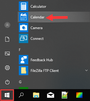 Windows 10 Calendar app