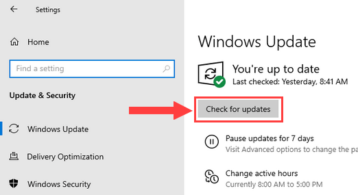 Windows 10 Check for updates button