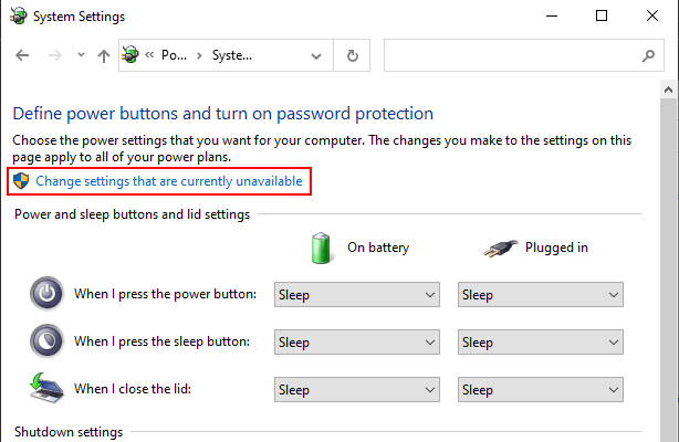 Windows 10 Control Panel Change settings that are currently unavailable