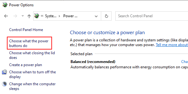 Windows 10 Control Panel Choose what the power buttons do
