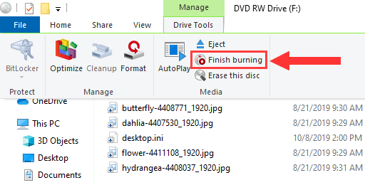 Windows 10 Drive Tools Finish burning