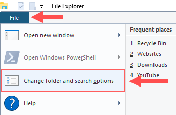 Windows 10 File Explorer Change and search options