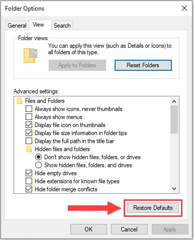 windows 10 file explorer folder options view tab restore defaults button