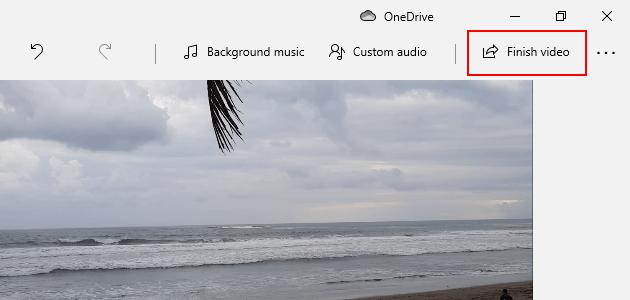 Windows 10 video editor finish video button