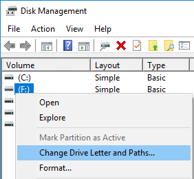 windows disk management change drive letter and paths option