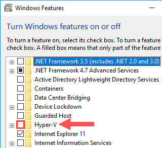 windows features hyper-v