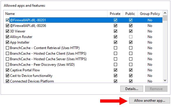 Windows Firewall Allow another app button