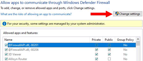 Windows Firewall Change settings button