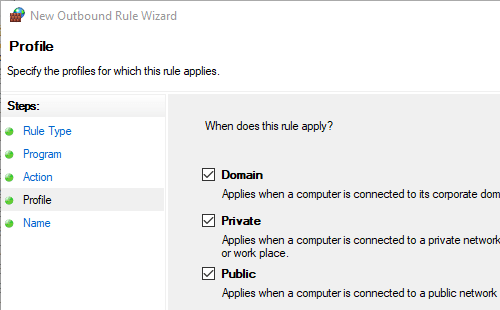 Windows Firewall Domain Private and Public options