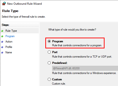 Windows Firewall new outbound rule program option