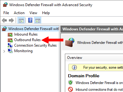 Windows Firewall outbound rules