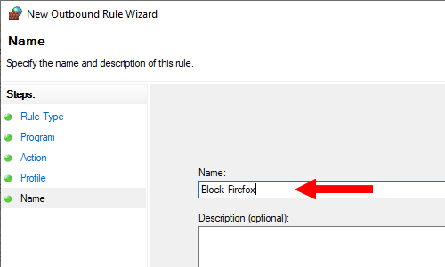 Windows Firewall rule name