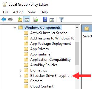 Windows Local Group Policy Editor BitLocker Drive Encryption