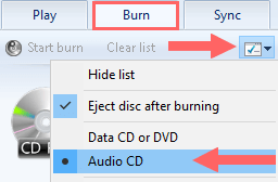 windows media player burn options