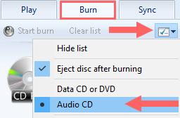 windows media player burn options